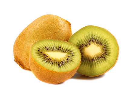 cantle: Kiwi with two slices isolated on white background Stock Photo