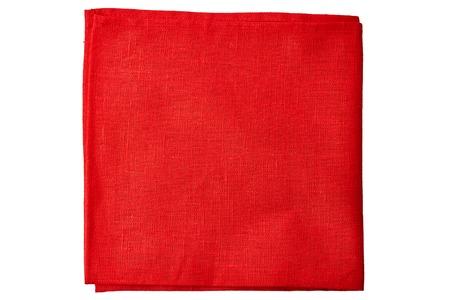 dishtowel: Red fabric napkin isolated on white background Stock Photo