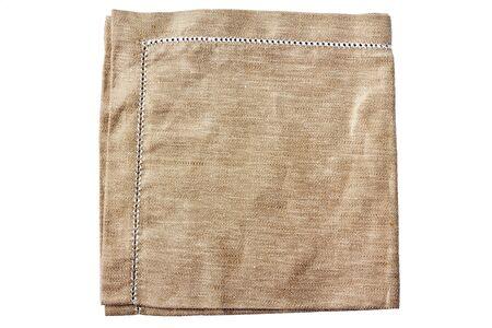 dishtowel: Beige fabric napkin ith embroidery isolated on white Stock Photo