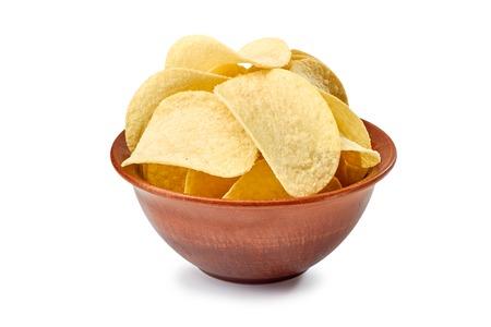 ridged: Potato chips in ceramic bowl isolated on white bacground Stock Photo