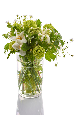 Bouquet of spring flowers on white Stock Photo
