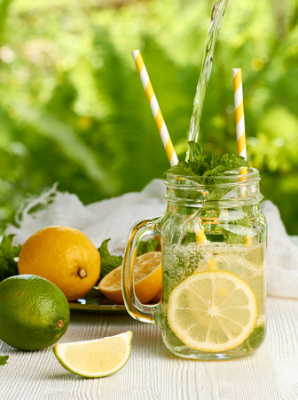 mohito: Preparing fresh summer drink with lemons and mint