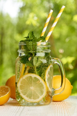 desk: Fresh lemon and mint drink