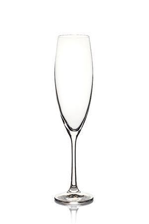 Empty champagne glass on white Foto de archivo