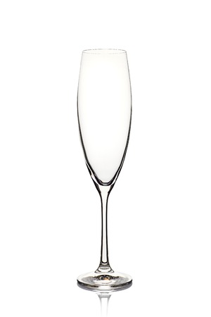 Empty champagne glass on white Stock fotó