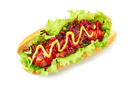 Homemade hot dog on white