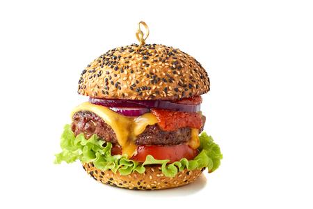 Tasty cheeseburger on white Foto de archivo