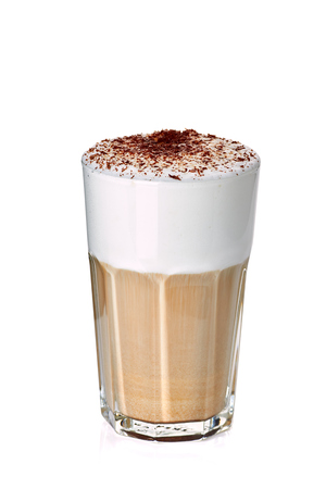 Glass of coffee latte on white