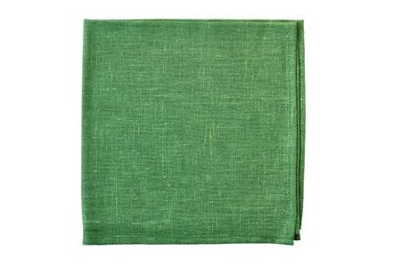 Folded green natural textile napkin on white