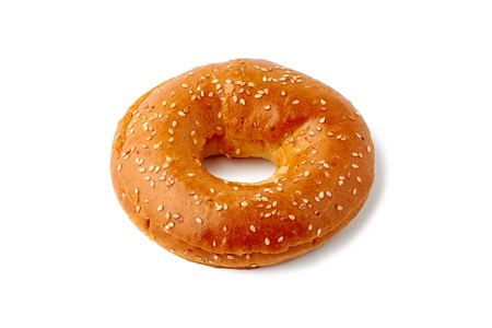 Fresh bagel with seeds on white background Banco de Imagens