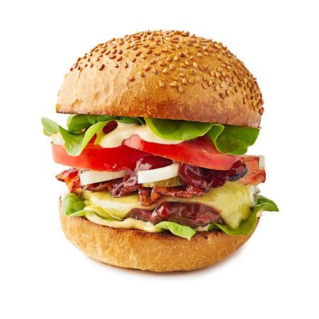 Big juicy hamburger isolated on white background