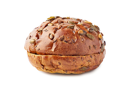 Brown bun for burgers on white background Stock Photo