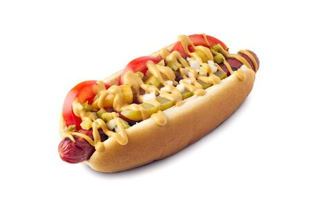 Tasty hot dog with sport peppers and pickled relish on white Banco de Imagens