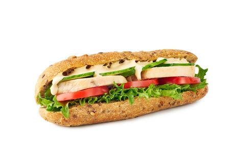 Whole grain sandwich with chicken and vegetables on white Banco de Imagens - 132050862