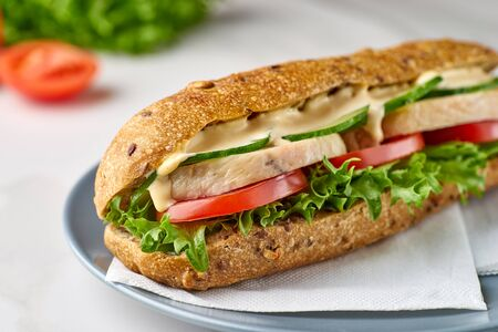 Big sandwich with chicken and vegetables on dish