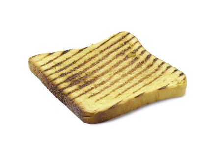 Slice of roasted toast bread on white background