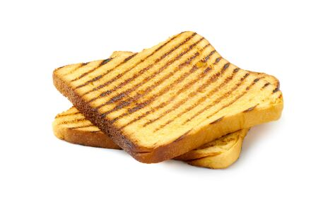 Two slices of roasted toast bread on white Stock Photo