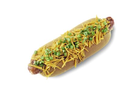 Memphis style hot dog on white background
