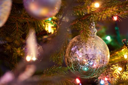 Christmas tree decoration close-up with blured background