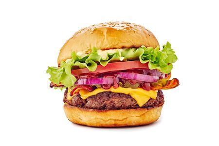 Juicy hamburger on white background