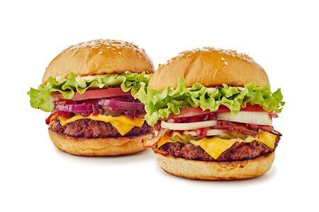 Two big hamburgers on white