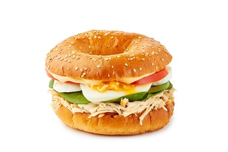 Bagel sandwich with pulled chicken meat on white