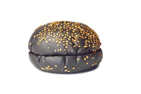 Black hamburger bun on white