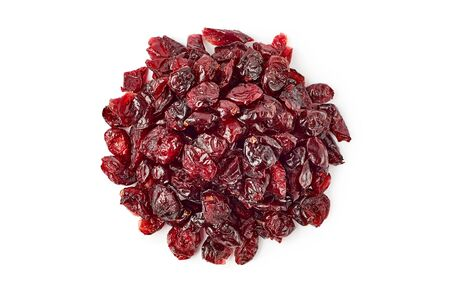 Heap of dried cranberries on white