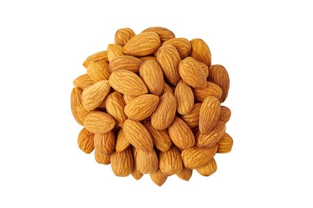 Heap of raw almonds on white Фото со стока