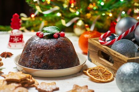 Christmas pudding with celebrate decorations