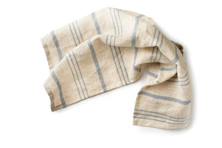 Striped natural fabric napkin isolated on white