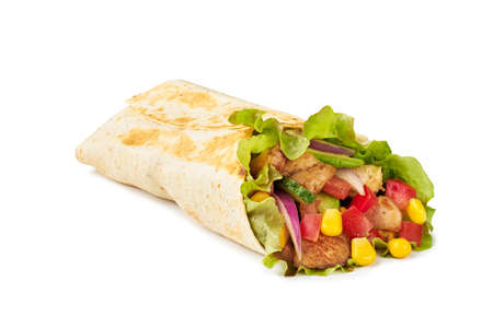 Tortilla wrap with vegetables and fried chicken meat