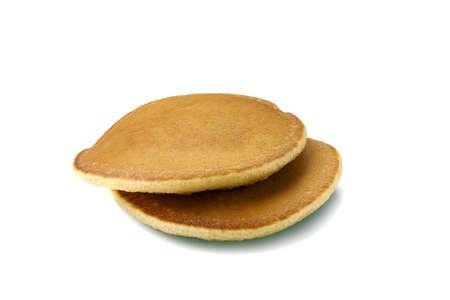 Two pancakes on white background