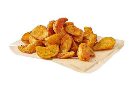 Heap of fried potatoes on white background