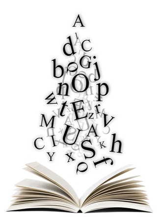 bibliophile: Open book with falling letters over white background