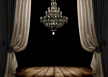 curtain theatre: Image of grunge dark room interior with wood floor and chandelier. Background