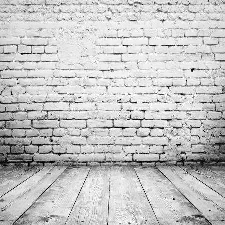 brick: room interior vintage with white brick wall and wood floor background