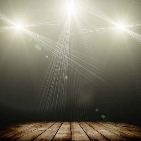 laser show: ilustration of concert spot lighting over dark background and wood floor