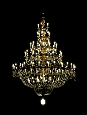 giant chandelier isolated on black backgriund