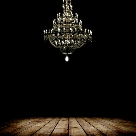 Image of grunge dark room interior with wood floor and chandelier. Background Stock Photo - 18148193