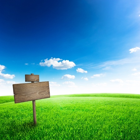 background sky: Road sign in green grass field over blue sky background Stock Photo