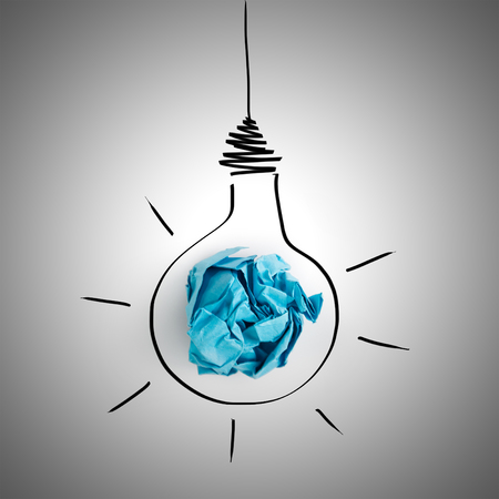 hand torn: Illustration of lightbulb with cracked paper inside  Inspiration concept background Stock Photo