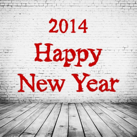 room interior vintage with white brick wall and wood floor background  Happy new year photo