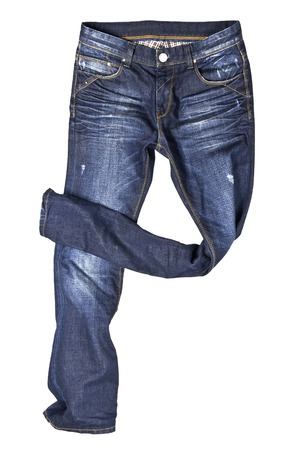 stride: Blue jeans trouser isolated on the white background