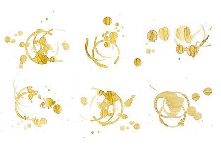 cruddy: Coffee stains on white Stock Photo