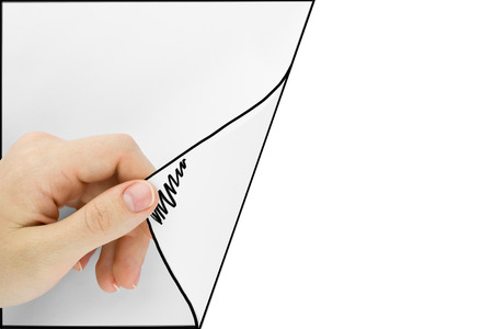 news papers: Blank sheet of paper with hand opening it. Over white background