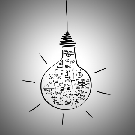 Hand draw business sketches inside lightbulb over grey background photo