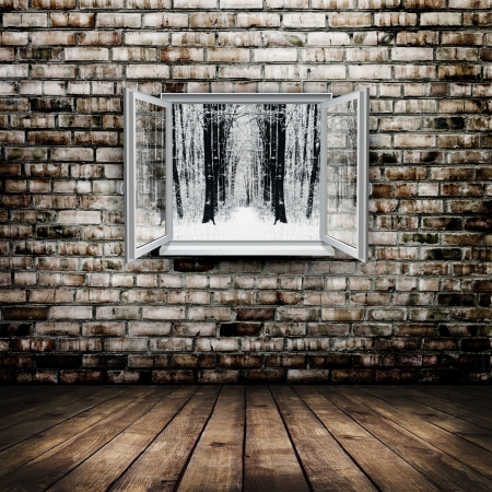 plastic texture: Open window from old room with winter forest on a background Stock Photo