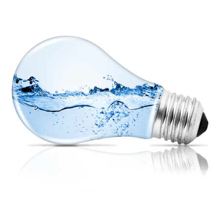 Lightbulb with water inside. Abstract concept Stock Photo