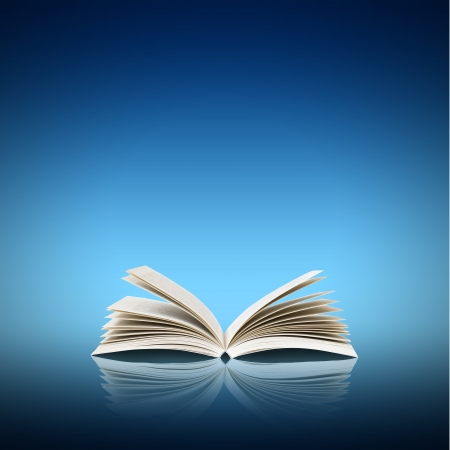 bible study: Open book isolated on blue